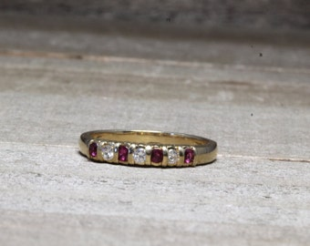 Estate, 14K Yellow Gold Diamond and Ruby Band Size 6 1/4