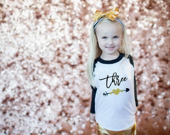 Three Baseball Tee, 3rd birthday shirt, Gold Glitter third birthday shirt,3rd Birthday Outfit, 3rd Birthday Girl Shirt,Three shirt, 3rd bday
