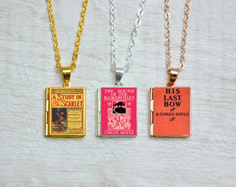 Sherlock Holmes Book Cover Locket Library Charm Conan Doyle Literary Gifts Jewelry Jewellery Study in Scarlet Hound of Baskervilles