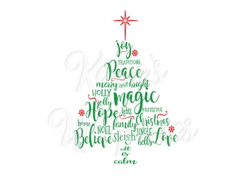 Christmas Tree Words SVG DXF PNG Digital Cut File for use with cutting machines Cricut or Silhouette