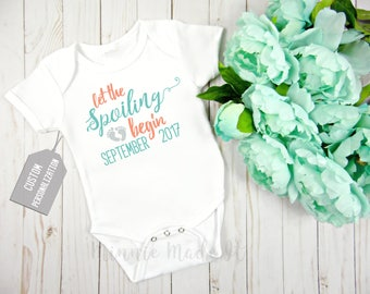 Let the Spoiling Begin - Personalized Pregnancy Announcement Baby One Piece - Add Due Date - Custom Reveal For Baby Boy Or Baby Girl