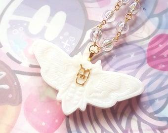 Milky Moth Necklace - Sweet Lolita Gothic Lolita Harajuku Fashion Jewelry