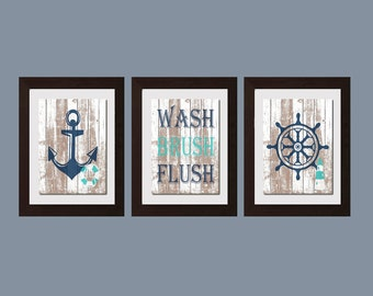 Wash Brush Flush, Beach Decor, Nautical Bathroom Decor, Nautical Decor,  Cottage Home