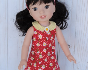 Wellie Wishers Summer Daisies Dress and Headband for American Girl 14.5 inch dolls