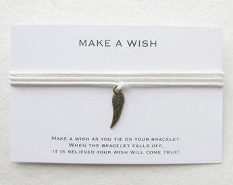 Make a wish bracelet, wish bracelet, wing bracelet, angel bracelet, W41