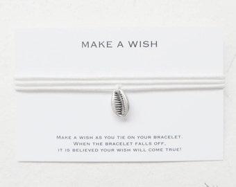 Wish bracelet, shell bracelet, make a wish bracelet, cowrie shell bracelet, W11