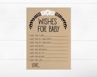 Wishes For Baby, Baby Shower Game, Gender Neutral, Printable Game (315)