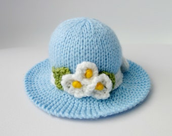 Hand Knitted Pin Cushion - Bright Needle Cushion - Floral Pin Cushion - Blue Pincusion - Hat Pincushion - Pincushion (Ready to Post)
