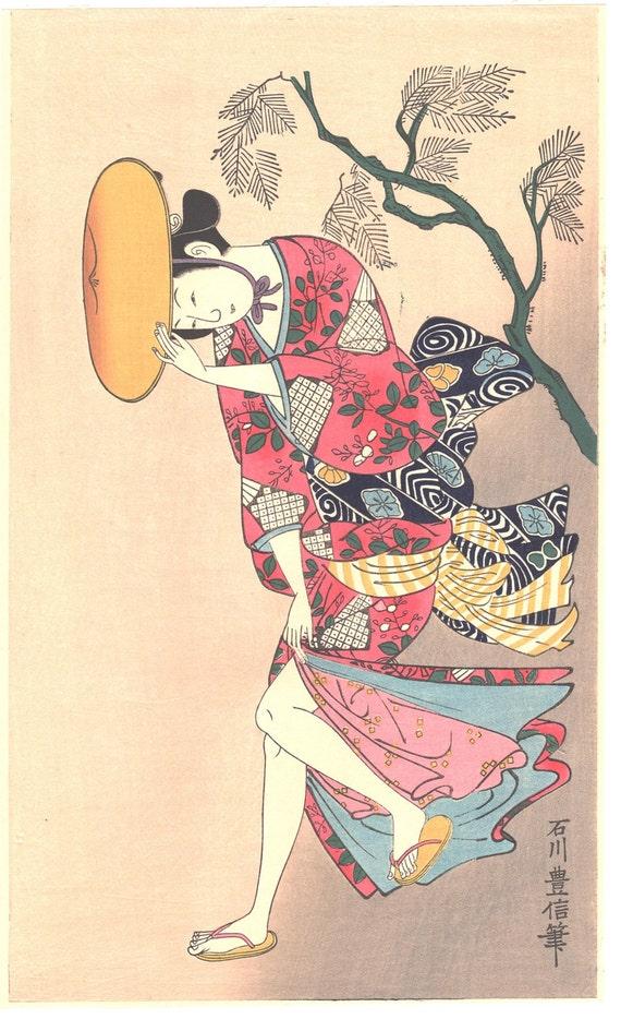 "Japanese Ukiyo-e Woodblock print, Ishikawa Toyonobu, ""Beauty in the Wind"""