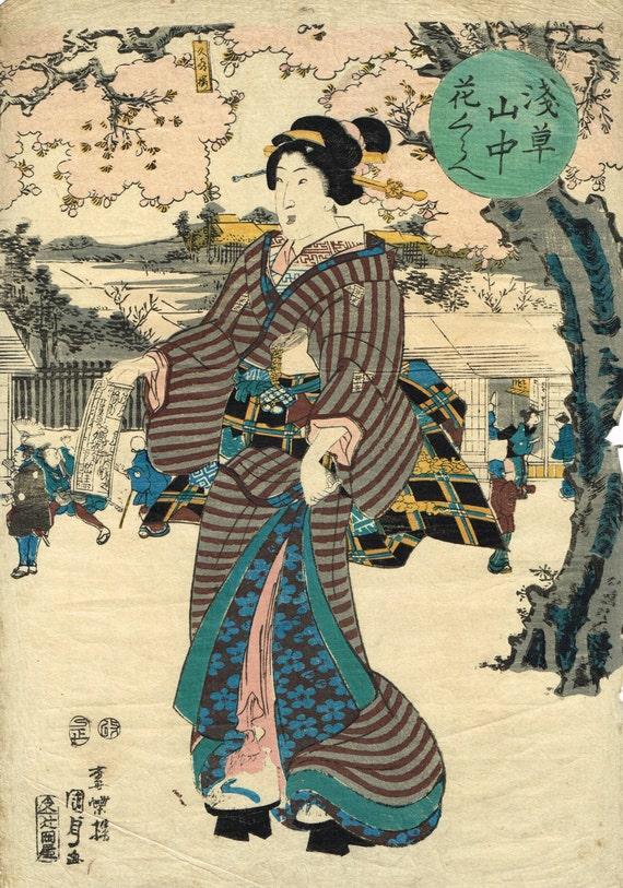 "Japanese original Ukiyo-e Woodblock print, Kunisada, Edo-period, ""Asakusasanchu Hanakurabe"""
