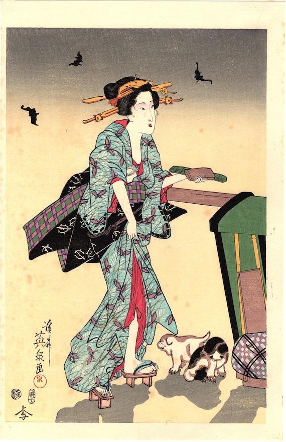 "Japanese Ukiyoe, Woodblock print, Eisen, ""Three Courtesans on a Summer Night"""