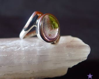 WATERMELON TOURMALINE RING in Sterling Silver - Ring Size 7 (O)