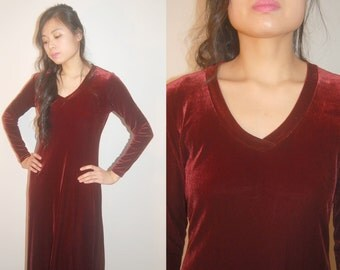 Oxblood Full Length Stretch Velour Maxi Dress 90s size small