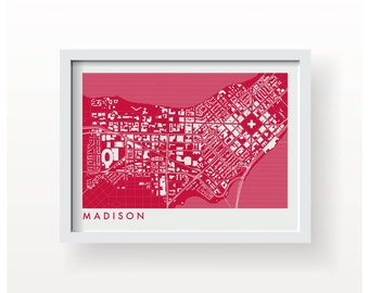 MADISON WISCONSIN Map Print - Home Decor - Office Decor - Madison Artwork - Poster - Wall Art - University of Wisconsin Gift - Badgers Gift