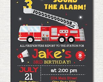 Firetruck Birthday Invitation, Firetruck Invite, Fire truck Birthday, printable