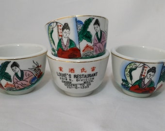Antique Chinese Restaurant Tea Cup ~ Louie's Restaurant Spokane WA ~ Hand Painted ~ Made in China 1950's