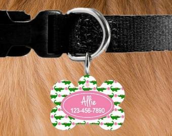 JUMBO Monogrammed Dog Tag- Large Personalized Pet Tag with alligators - Pet ID Tags - Custom Pet Tags - Custom Pet ID Tag - Pet Tags