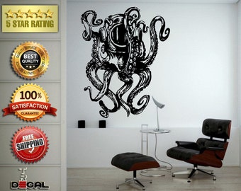 Jellyfish Octopus Sea Ocean Water Fish Creature Scuba Helmet Long Tentacles Wall Window Sticker Decal Vinyl Silhouette Decor L1856