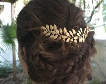Wedding hair vine - Silver leaf hair vine - Grecian headpiece - bridal headpiece - Swarovski crystal - Laurel leaf hair vine