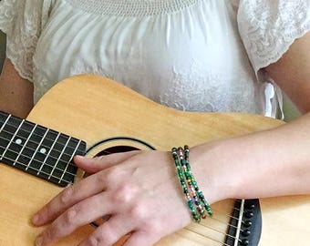 Recycled Guitar String Bangles - Guitar Jewelry - For Musicians - Colorful Guitar Accessories - Gift for Guitar Teacher - Guitarist Gift -