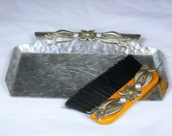 Vintage Silent Butler Set Crumb Catcher  Tray and Sweeper Brush, Silver Tone Hand Wrought Creation by Rodney Kent Hammered Aluminum