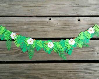 Tropical Garland / Tropical Leaves / Hawaiian Party Decor / Moana Party / Name Customization Available
