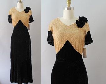 1930s Silk Velvet Gown / Vintage Antique 30s Velvet and Lace Evening Gown / XS