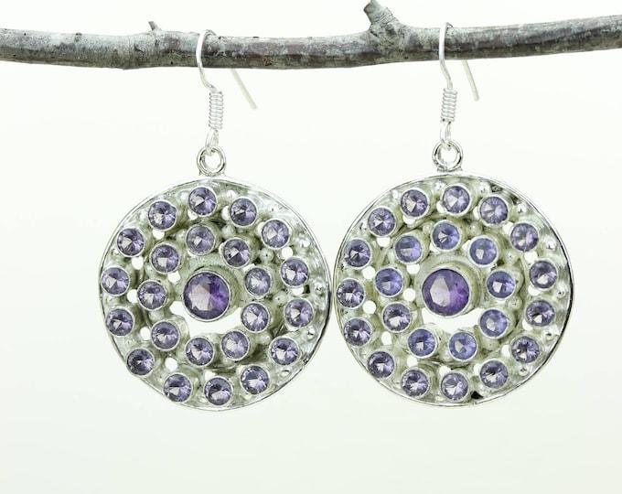 Amethyst 925 SOLID (Nickel Free) Sterling Silver Italian Made Dangle Earrings e677