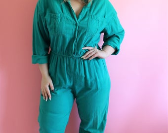 Vintage 80s Teal Green Linen Cotton Coveralls