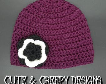 Purple Baby Hat w/ Black & White Flower
