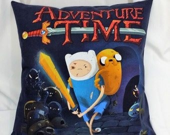 Adventure Time T-shirt made into a pillow  cover. Cartoon bedding made from AT cotton shirt with Jake the Dog and Finn the Human.