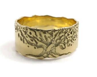Tree Ring Jewelry, gold Tree ring, gold engagement ring, mens engagement ring, Tree ring, Wedding tree ring/tree of life ring/mens gold ring