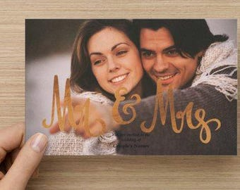 Mr & Mrs Photo Card Wedding Invitation