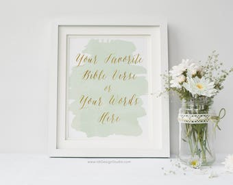 Custom Print, Bible Verse, Green Watercolor, Cadre, Anniversary Print, Shower Gift, Gift Ideas, Valentine Day, Mother's Day Gift, D14-3-0