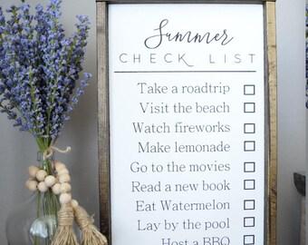 Summer Checklist Framed Wood Sign
