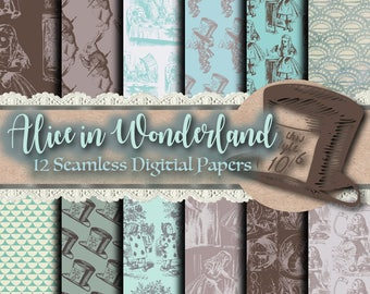 Alice in Wonderland Paper - Digital Paper, Scrapbook Paper, Fabric Pattern, Wonderland Clip Art, Fairy Tale Clipart, Wonderland Backgrounds
