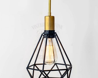 Triangular black cage with pipe brass socket Edison bare bulb pendant light industrial style