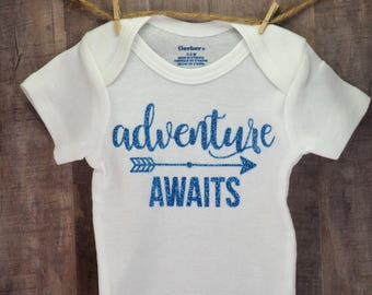 Adventure Awaits Funny Baby One-Piece Newborn Infant Toddler Baby Cute Baby Shower Birthday Coming Home Gift Idea Girl Toddler Arrow Creeper