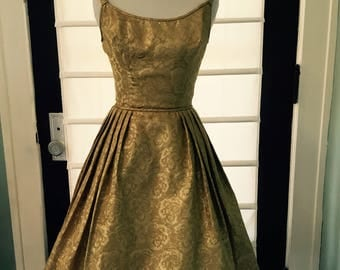 1950s glamorous gold classic brocade dress, small