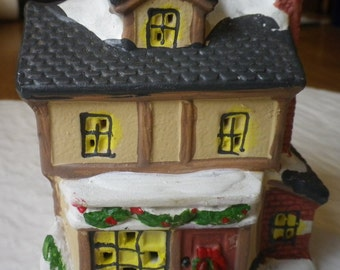 Christmas Village Houses, Church, House, Gazebo, Ceramic Figurines, Christmas Table Decorations