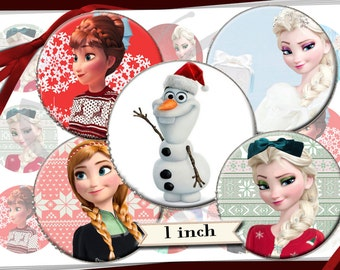 Frozen Christmas Holiday images 1 inch round circles