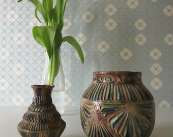Two Vintage Ceramic Frisian Carve Work Vases or Pots 30s 17036