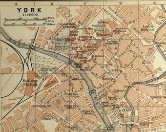 Vintage map of York (genuine 1901 antique) with option to handcut with custom words