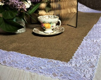 Hessian Lace Table Runner ~  1 sq meter for Round Wedding Table ~ Natural, Rustic Hessian/Burlap with White Lace Trim Runner
