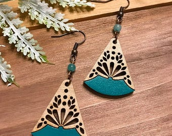 Wooden Earrings - Tropical Blue