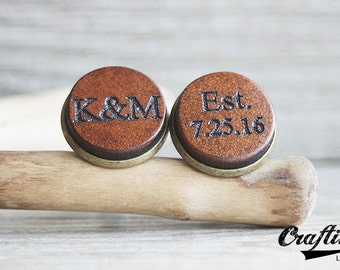 Leather Anniversary Gift for Him, Monogrammed Cufflinks, 3rd Anniversary, Monogram Cufflinks, Custom Initials Cufflinks, Third Anniversary