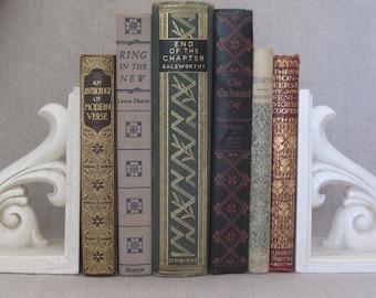 Vintage Book Bundle with Decorative Patterned Spines