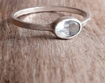 Simple Aquamarine and Sterling Silver Ring - Aquamarine Ring - March Birthstone Ring - Light Blue Stone Ring - Gift for Mom - Hammered Ring