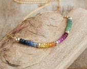 Gemstone Rainbow Necklace Emerald Ruby Sapphire Necklace Multi Stone Jewellery May JulySeptember Birthstone Necklace Wife Gift