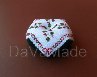 Bright Christmas biscornu.  Cross-stitch pattern.